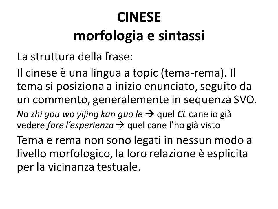 CINESE morfologia e sintassi La struttura della frase: Il cinese è una lingua a topic (tema-rema).