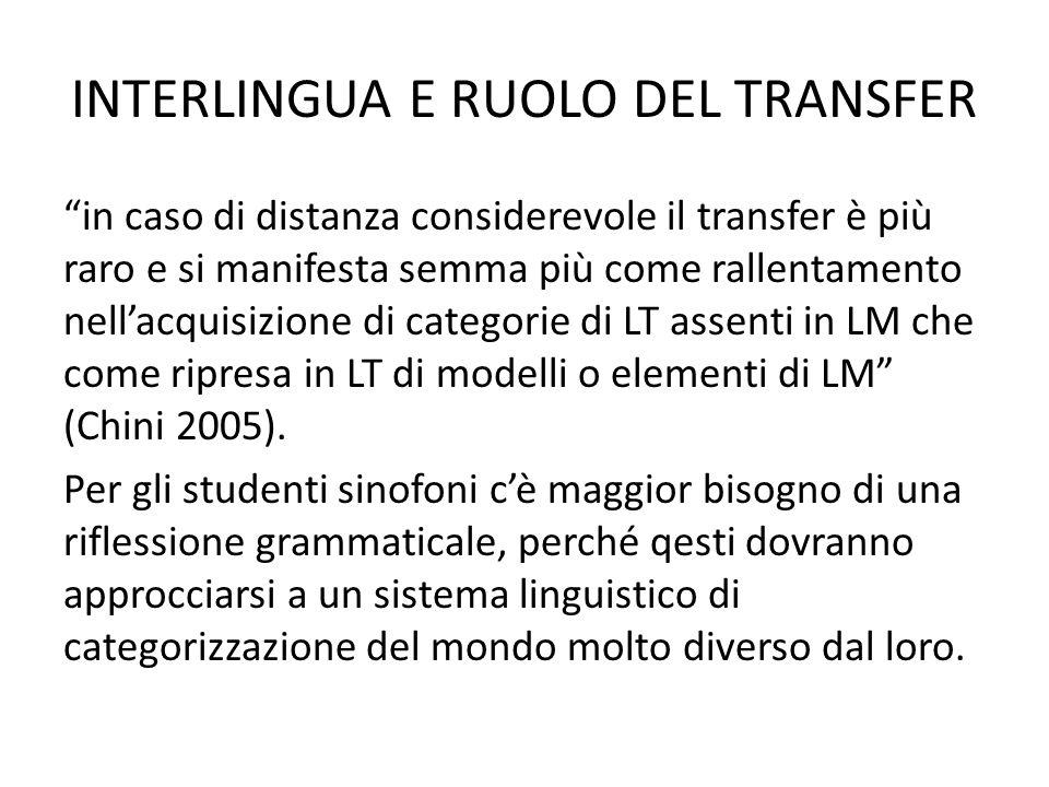 INTERLINGUA E RUOLO DEL TRANSFER in caso di distanza considerevole il transfer è più raro e si manifesta semma più come rallentamento nellacquisizione di categorie di LT assenti in LM che come ripresa in LT di modelli o elementi di LM (Chini 2005).