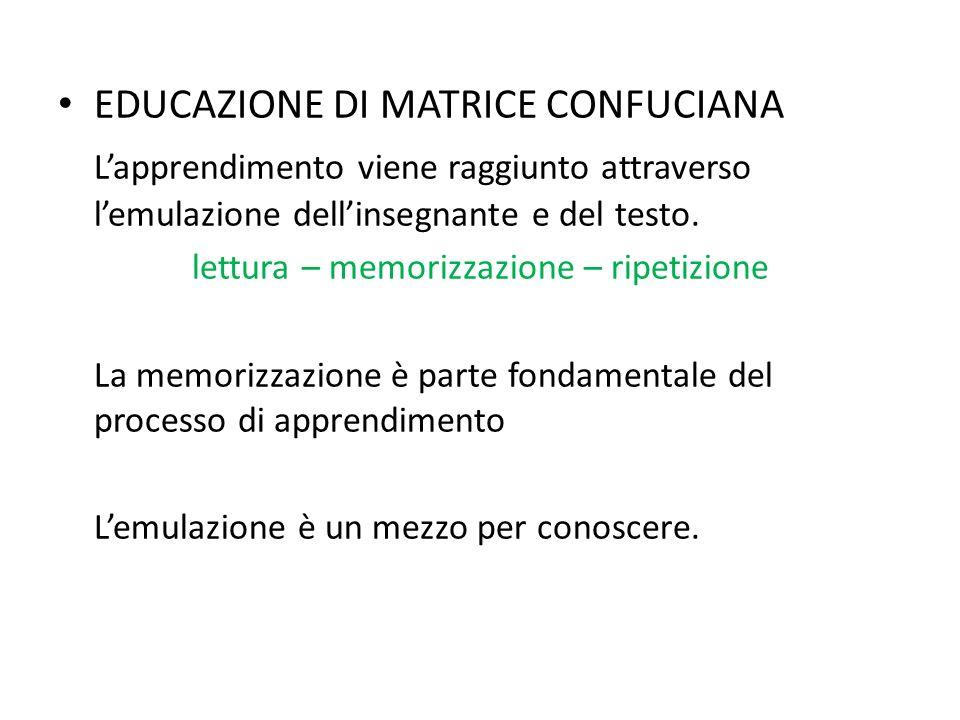 EDUCAZIONE DI MATRICE CONFUCIANA Lapprendimento viene raggiunto attraverso lemulazione dellinsegnante e del testo.