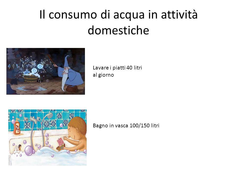 Il consumo di acqua in attività domestiche Lavare i piatti 40 litri al giorno Bagno in vasca 100/150 litri