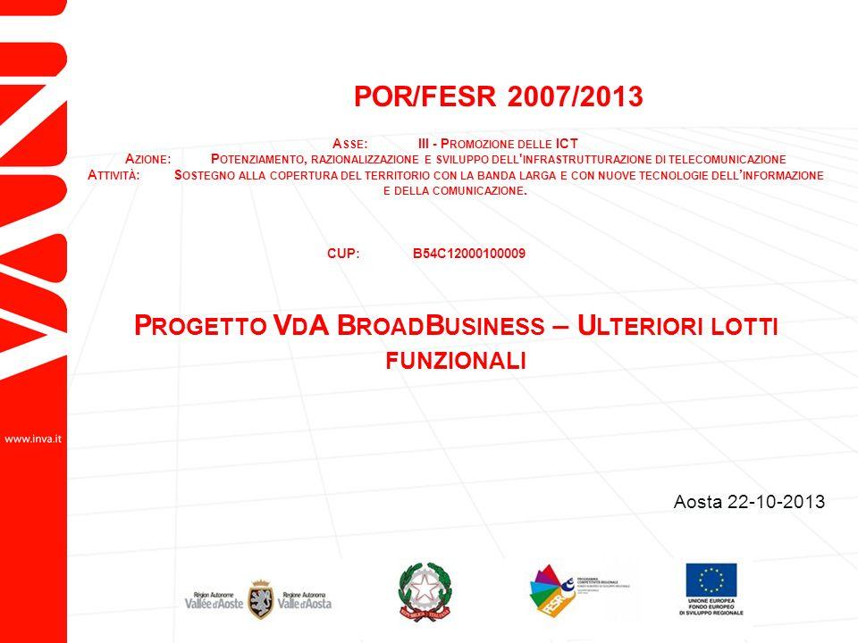 POR/FESR 2007/2013 A SSE :III - P ROMOZIONE DELLE ICT A ZIONE :P OTENZIAMENTO, RAZIONALIZZAZIONE E SVILUPPO DELL INFRASTRUTTURAZIONE DI TELECOMUNICAZIONE A TTIVITÀ :S OSTEGNO ALLA COPERTURA DEL TERRITORIO CON LA BANDA LARGA E CON NUOVE TECNOLOGIE DELL INFORMAZIONE E DELLA COMUNICAZIONE.