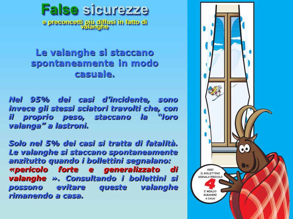 Nel 95% dei casi dincidente, sono invece gli stessi sciatori travolti che, con il proprio peso, staccano la loro valanga a lastroni. Solo nel 5% dei c