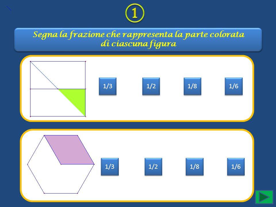 Segna la frazione che rappresenta la parte colorata di ciascuna figura Segna la frazione che rappresenta la parte colorata di ciascuna figura 1/3 1/2 1/8 1/6 1/3 1/2 1/8 1/6