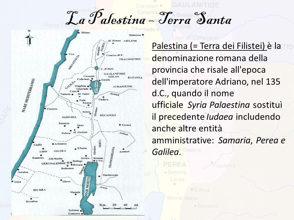 La Palestina è una terra compresa approssimativamente tra il Mar Mediterraneo ad ovest, il Lago di Tiberiade, il fiume Giordano ed il Mar Morto ad est, il deserto del Negev a sud ed il monte Hermon a nord.