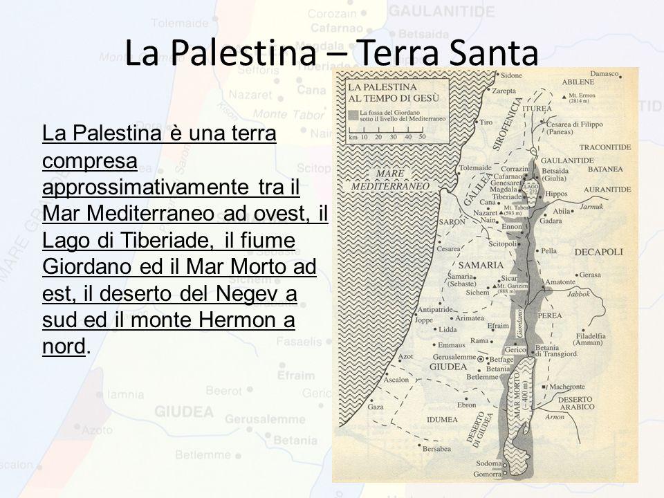 La Palestina è una terra compresa approssimativamente tra il Mar Mediterraneo ad ovest, il Lago di Tiberiade, il fiume Giordano ed il Mar Morto ad est