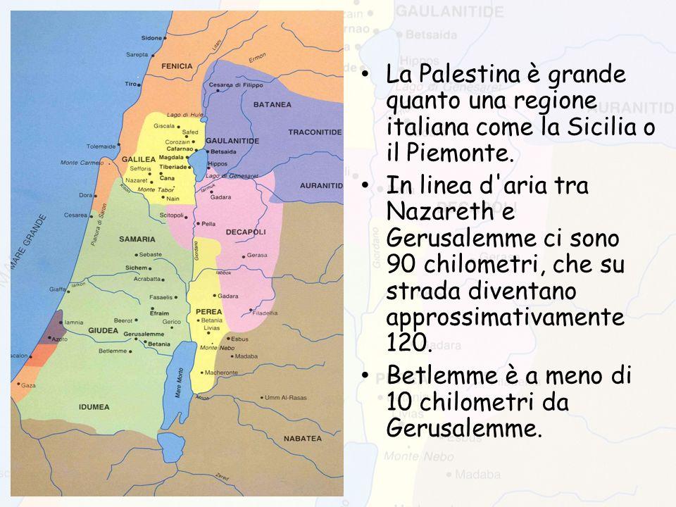 La Palestina è grande quanto una regione italiana come la Sicilia o il Piemonte. In linea d'aria tra Nazareth e Gerusalemme ci sono 90 chilometri, che