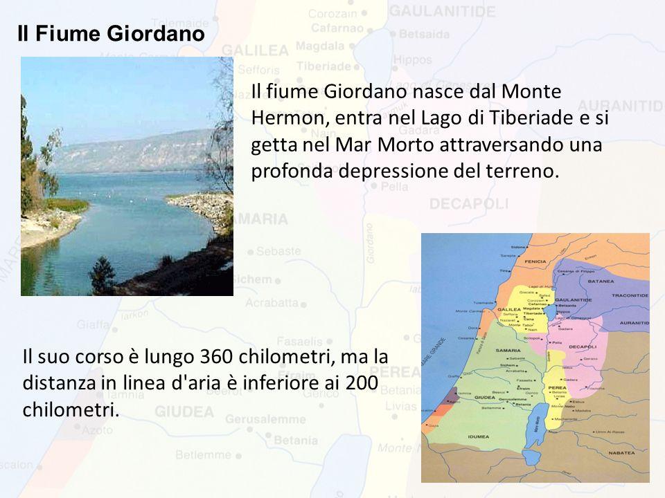 Il Fiume Giordano Il fiume Giordano nasce dal Monte Hermon, entra nel Lago di Tiberiade e si getta nel Mar Morto attraversando una profonda depression