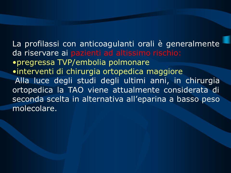 I pazienti con infarto del miocardio che hanno un aumentato rischio tromboembolico: ampia area acinetica trombosi murale storia di embolismo FA dovreb