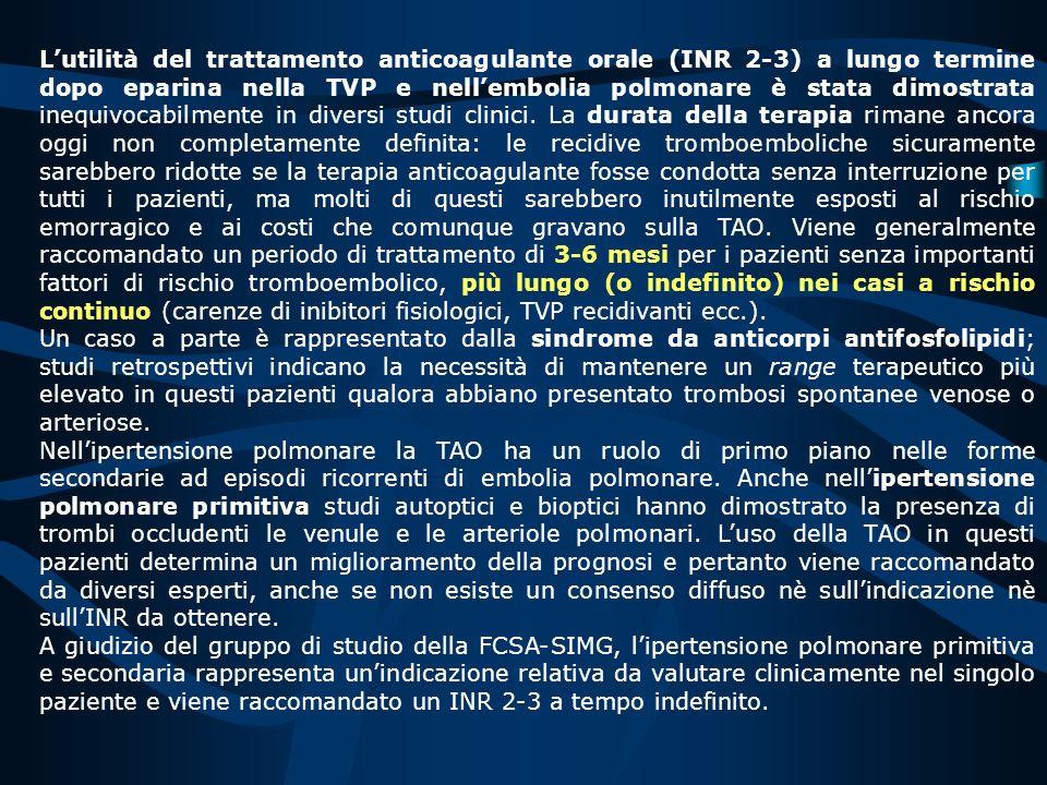 TROMBOEMBOLISMO ARTERIOSO RECIDIVANTE la FCSA suggerisce un alto livello di anticoagulazione (INR 3-4,5) a tempo indefinito.