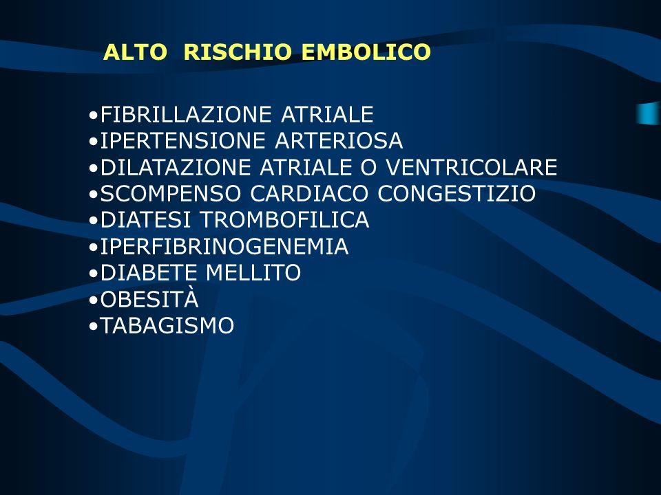 BASSO RISCHIO EMBOLICO ritmo sinusale normale frazione di eiezione non precedente tromboembolismo atrio sinistro di dimensioni normali