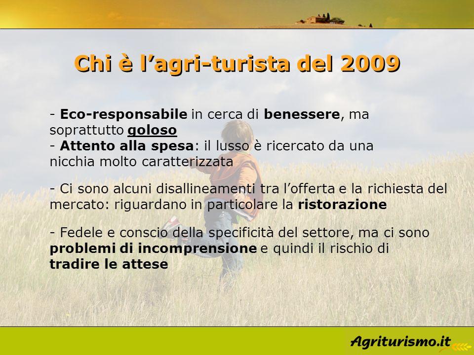 Chi è lagri-turista del 2009 - Fedele e conscio della specificità del settore, ma ci sono problemi di incomprensione e quindi il rischio di tradire le