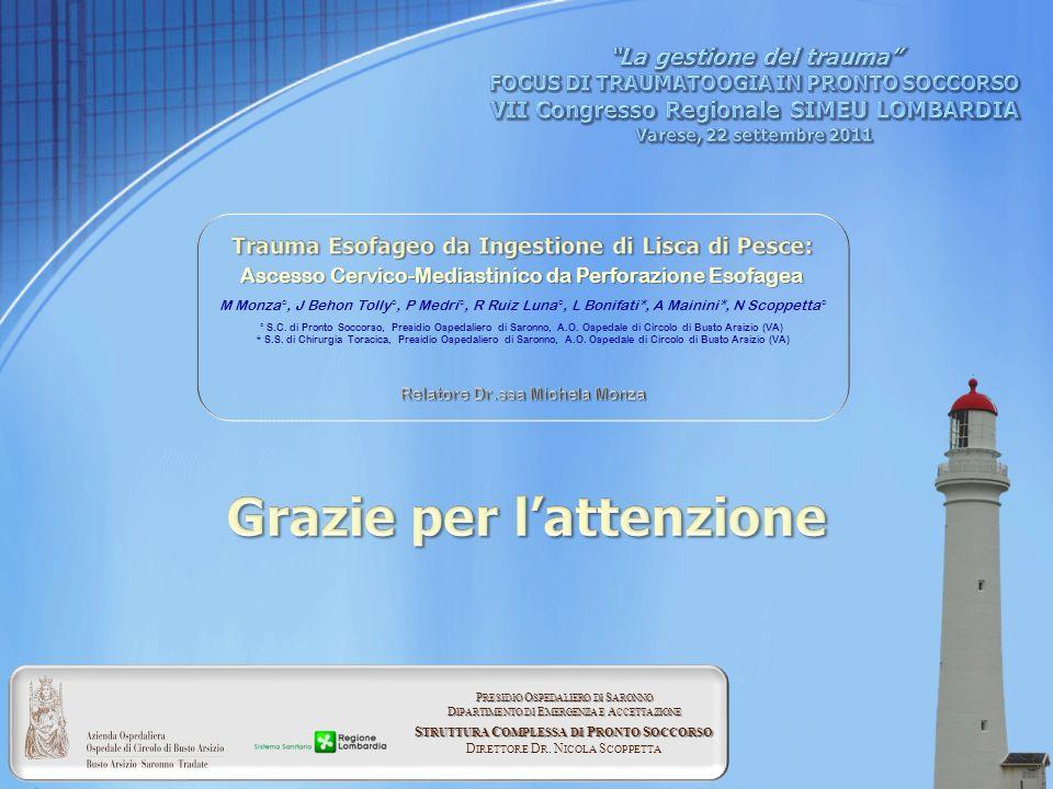 Ascesso Cervico-Mediastinico da Perforazione Esofagea M Monza°, J Behon Tolly°, P Medri°, R Ruiz Luna°, L Bonifati*, A Mainini*, N Scoppetta° ° S.C. d