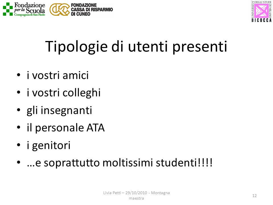 Tipologie di utenti presenti i vostri amici i vostri colleghi gli insegnanti il personale ATA i genitori …e soprattutto moltissimi studenti!!!! 12 Liv