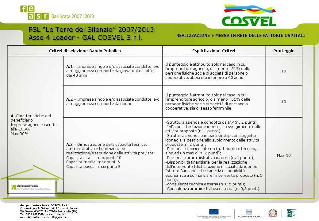 Criteri di selezione Bando PubblicoEsplicitazione CriteriPunteggio A. Caratteristiche del beneficiario Imprese agricole iscritte alla CCIAA Max 30% A.