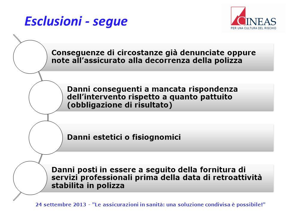 Esclusioni - segue 24 settembre 2013 - Le assicurazioni in sanità: una soluzione condivisa è possibile!