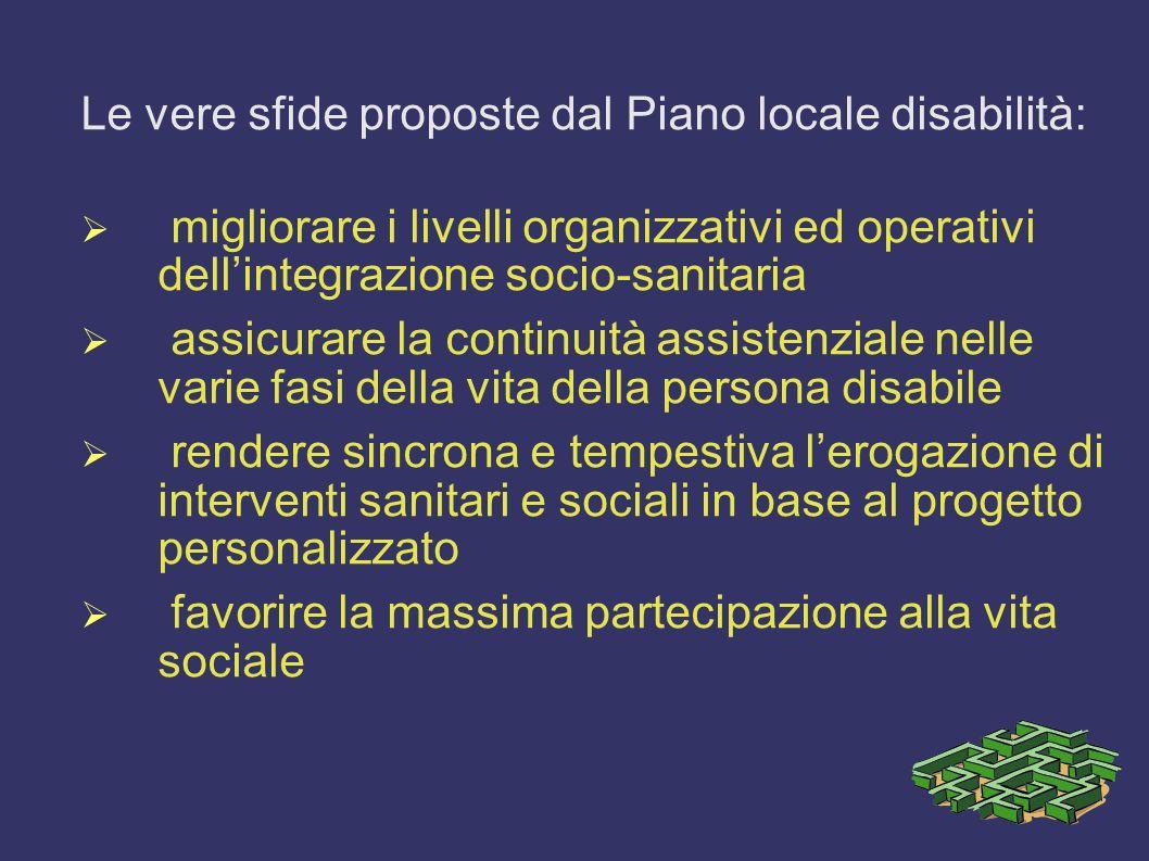 Le vere sfide proposte dal Piano locale disabilità: migliorare i livelli organizzativi ed operativi dellintegrazione socio-sanitaria assicurare la con