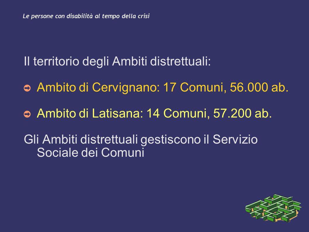 Le persone con disabilità al tempo della crisi Il territorio degli Ambiti distrettuali: Ambito di Cervignano: 17 Comuni, 56.000 ab. Ambito di Latisana