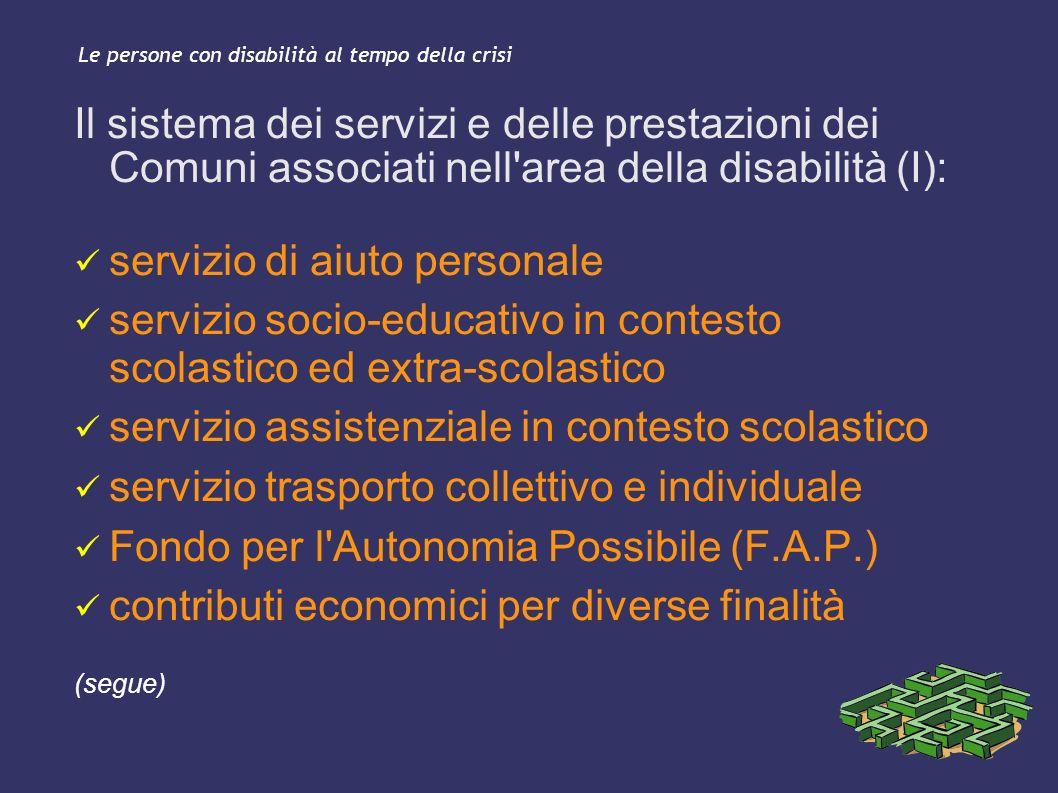 Le persone con disabilità al tempo della crisi Il sistema dei servizi e delle prestazioni dei Comuni associati nell'area della disabilità (I): servizi