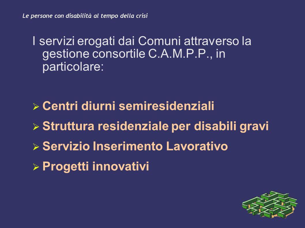 Le persone con disabilità al tempo della crisi I servizi erogati dai Comuni attraverso la gestione consortile C.A.M.P.P., in particolare: Centri diurn