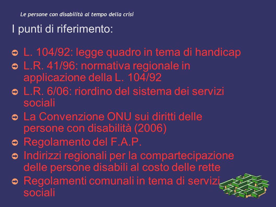 Le persone con disabilità al tempo della crisi I punti di riferimento: L. 104/92: legge quadro in tema di handicap L.R. 41/96: normativa regionale in