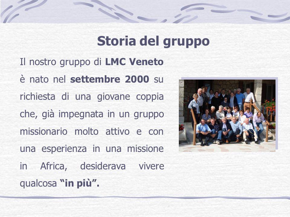 Storia del gruppo Il nostro gruppo di LMC Veneto è nato nel settembre 2000 su richiesta di una giovane coppia che, già impegnata in un gruppo missionario molto attivo e con una esperienza in una missione in Africa, desiderava vivere qualcosa in più.