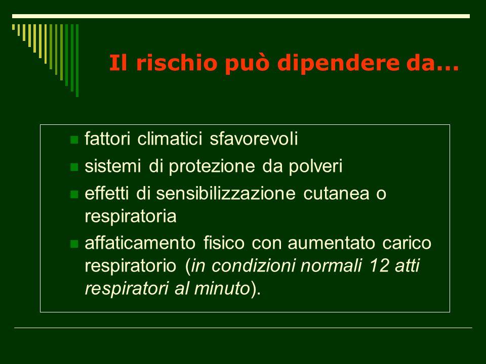 Il rischio può dipendere da... fattori climatici sfavorevoli sistemi di protezione da polveri effetti di sensibilizzazione cutanea o respiratoria affa