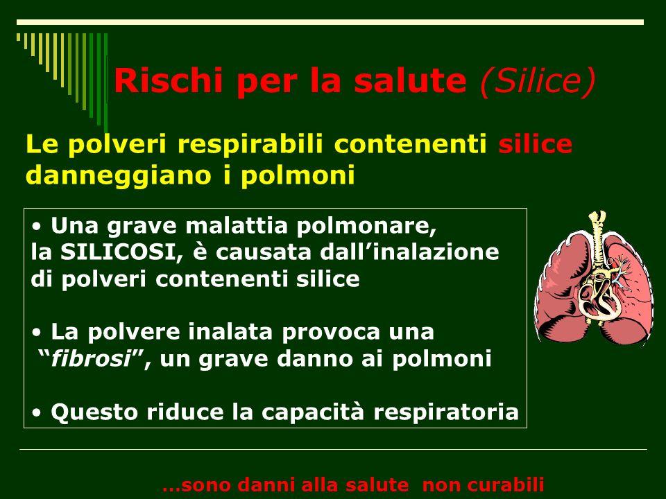 Rischi per la salute (Silice) Le polveri respirabili contenenti silice danneggiano i polmoni …sono danni alla salute non curabili Una grave malattia p
