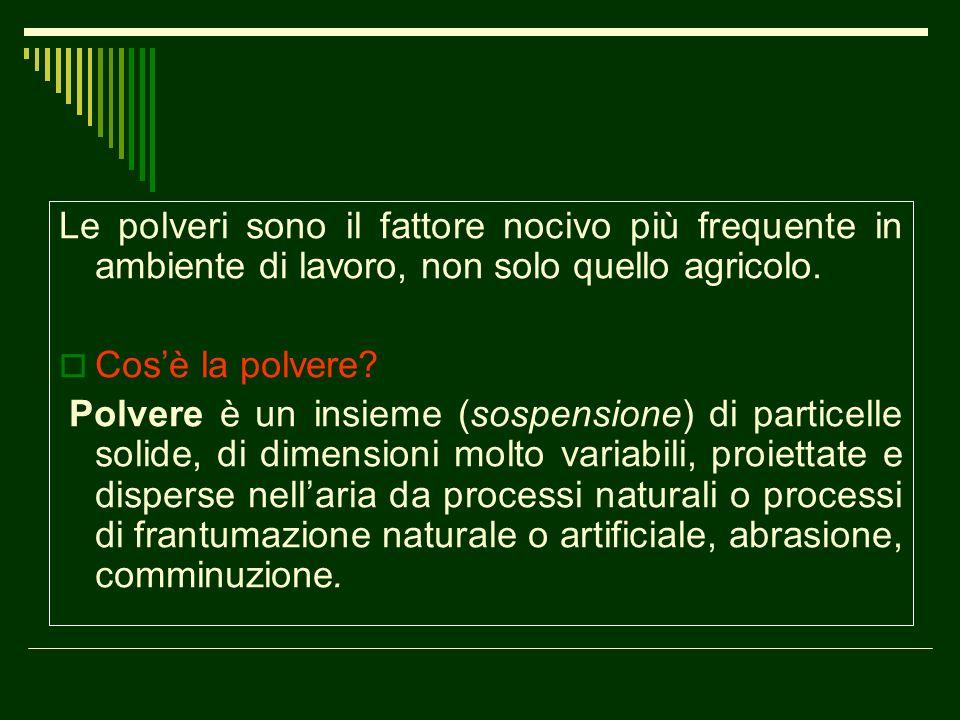 Le polveri possono essere: di natura organica (derivanti da animali o vegetali) di natura inorganica suddivise in - insolubili e solubili - polveri inerti o fastidiose.