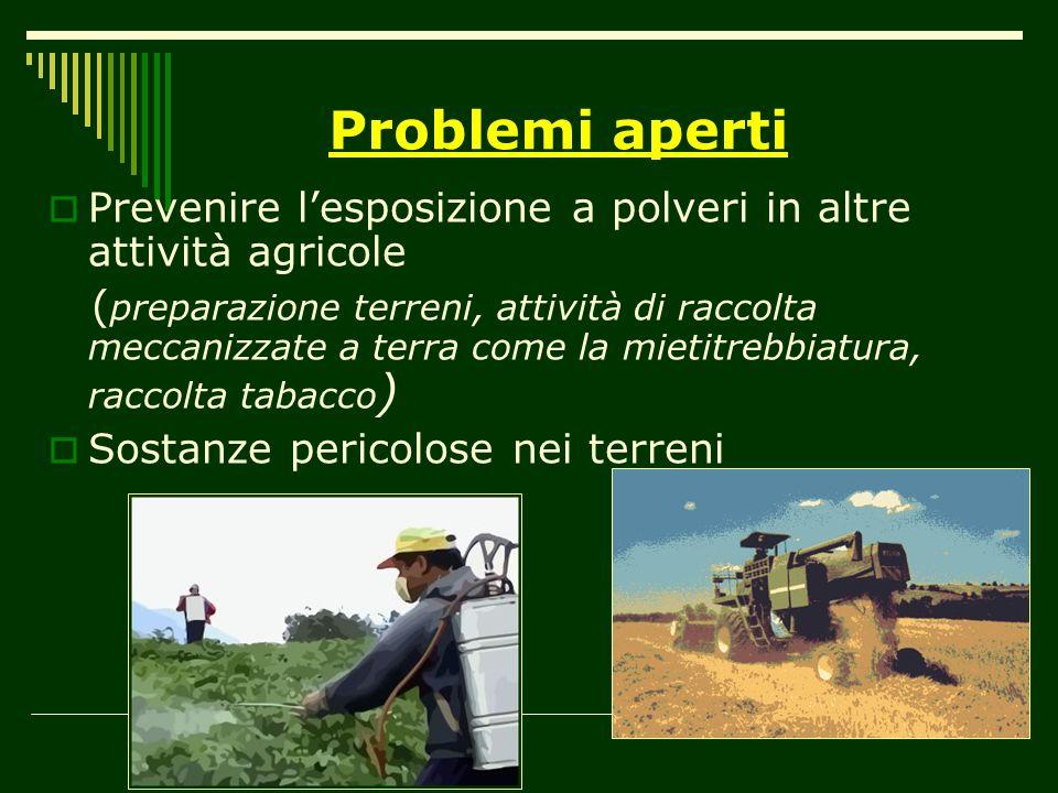 Problemi aperti Prevenire lesposizione a polveri in altre attività agricole ( preparazione terreni, attività di raccolta meccanizzate a terra come la