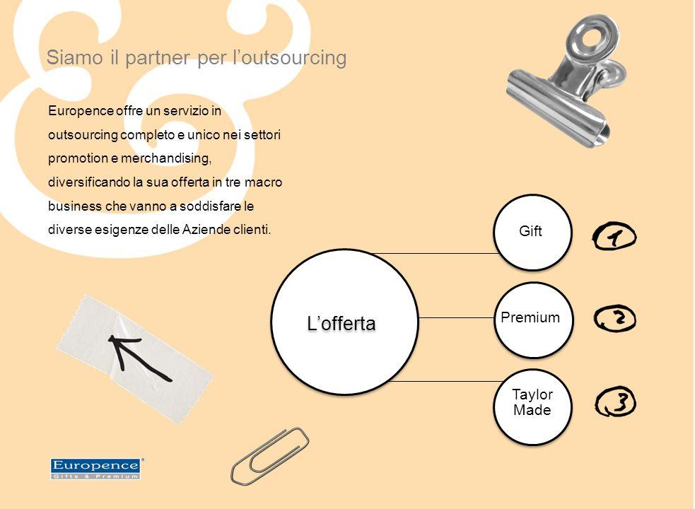 Siamo il partner per loutsourcing Lofferta Gift Premium Taylor Made Europence offre un servizio in outsourcing completo e unico nei settori promotion e merchandising, diversificando la sua offerta in tre macro business che vanno a soddisfare le diverse esigenze delle Aziende clienti.