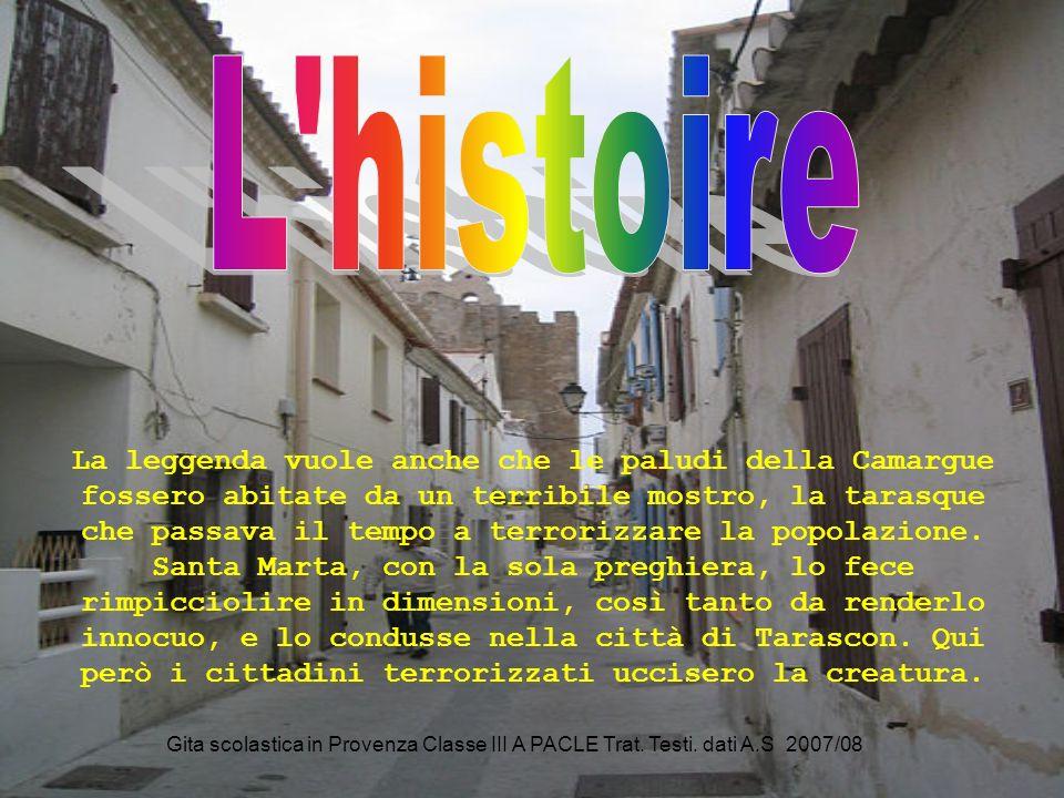 Gita scolastica in Provenza Classe III A PACLE Trat. Testi. dati A.S 2007/08 La leggenda vuole anche che le paludi della Camargue fossero abitate da u