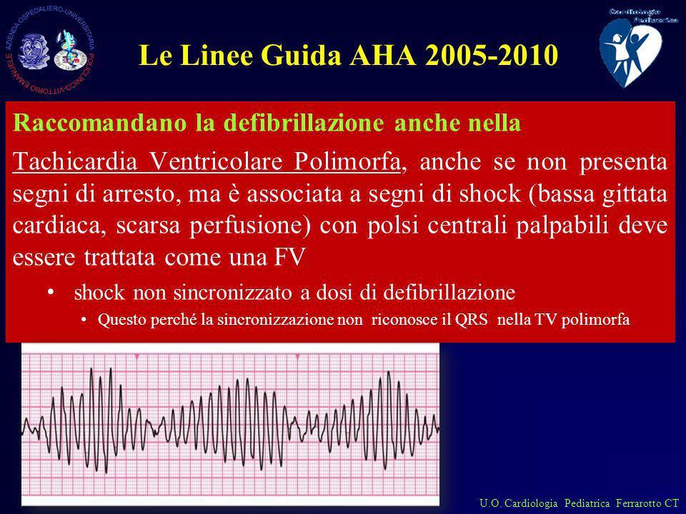 U.O. Cardiologia Pediatrica Ferrarotto CT Le Linee Guida AHA 2005-2010 Raccomandano la defibrillazione anche nella Tachicardia Ventricolare Polimorfa,