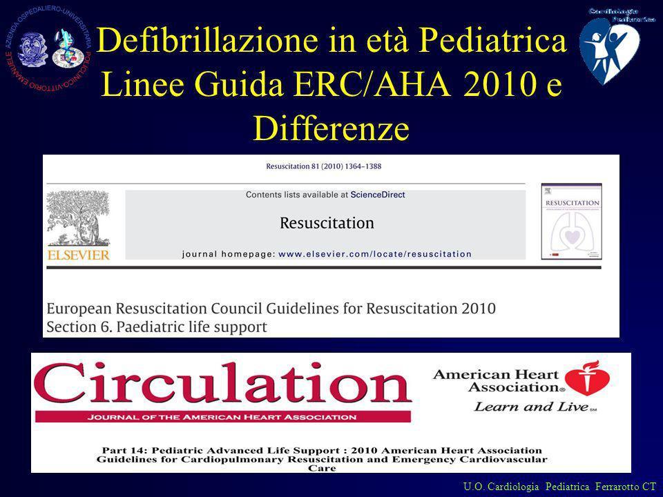 U.O. Cardiologia Pediatrica Ferrarotto CT Defibrillazione in età Pediatrica Linee Guida ERC/AHA 2010 e Differenze