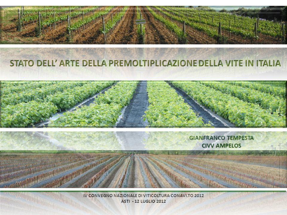 IV CONVEGNO NAZIONALE DI VITICOLTURA CONAVI.TO 2012 ASTI - 12 LUGLIO 2012 GIANFRANCO TEMPESTA CIVV AMPELOS