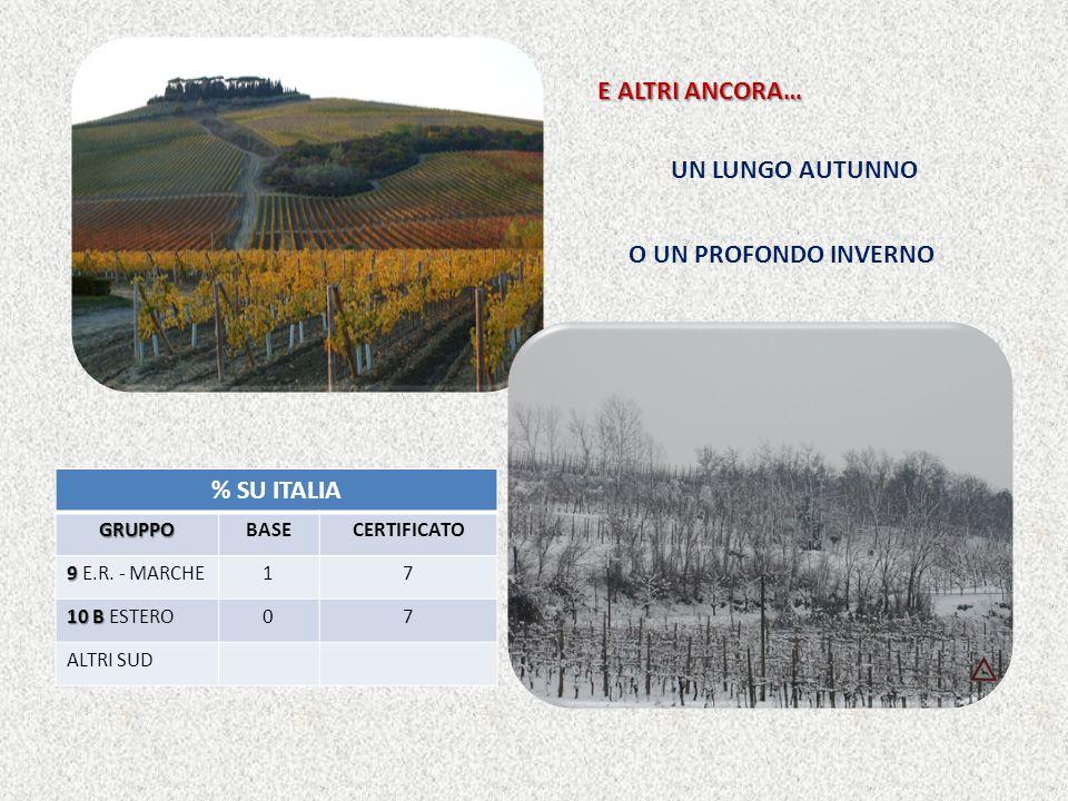 E ALTRI ANCORA… UN LUNGO AUTUNNO O UN PROFONDO INVERNO % SU ITALIAGRUPPOBASECERTIFICATO 9 9 E.R.