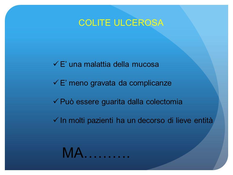 COLITE ULCEROSA E una malattia della mucosa E meno gravata da complicanze Può essere guarita dalla colectomia In molti pazienti ha un decorso di lieve