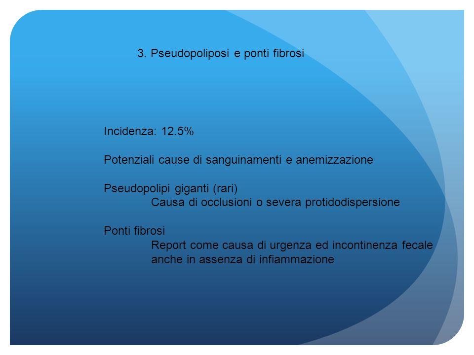 3. Pseudopoliposi e ponti fibrosi Incidenza: 12.5% Potenziali cause di sanguinamenti e anemizzazione Pseudopolipi giganti (rari) Causa di occlusioni o