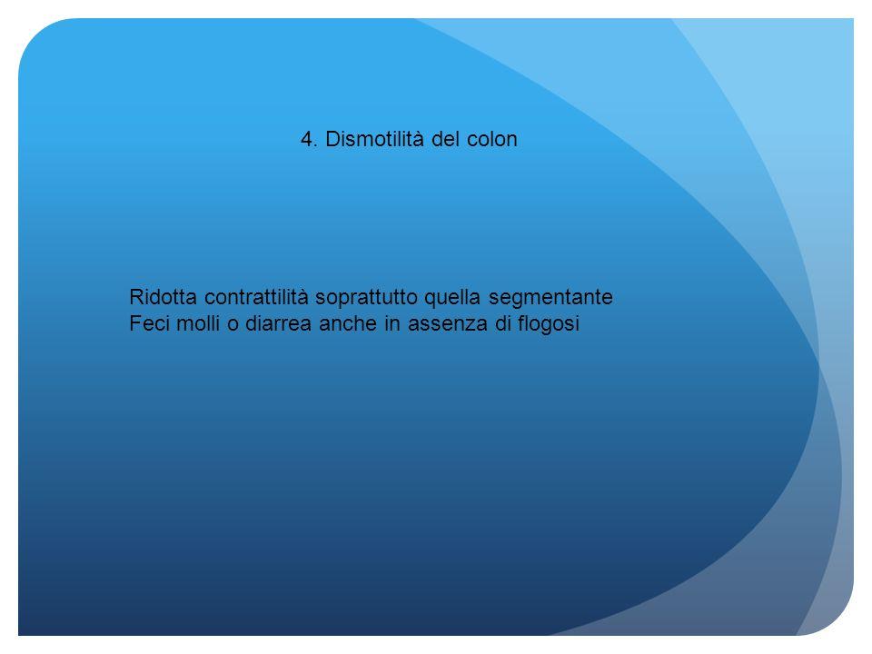 4. Dismotilità del colon Ridotta contrattilità soprattutto quella segmentante Feci molli o diarrea anche in assenza di flogosi