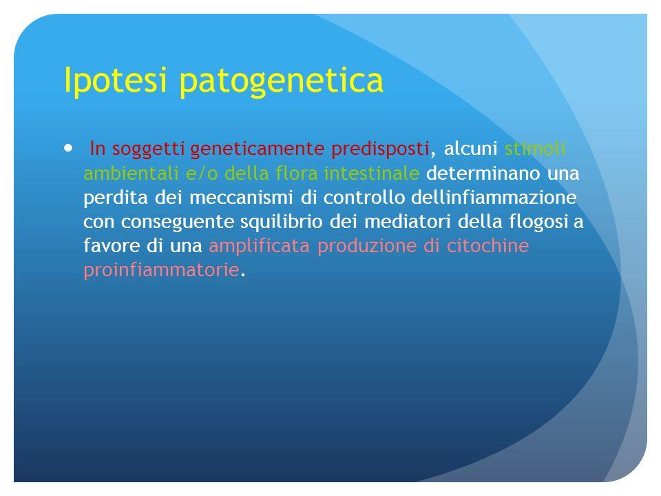 Ipotesi patogenetica In soggetti geneticamente predisposti, alcuni stimoli ambientali e/o della flora intestinale determinano una perdita dei meccanis