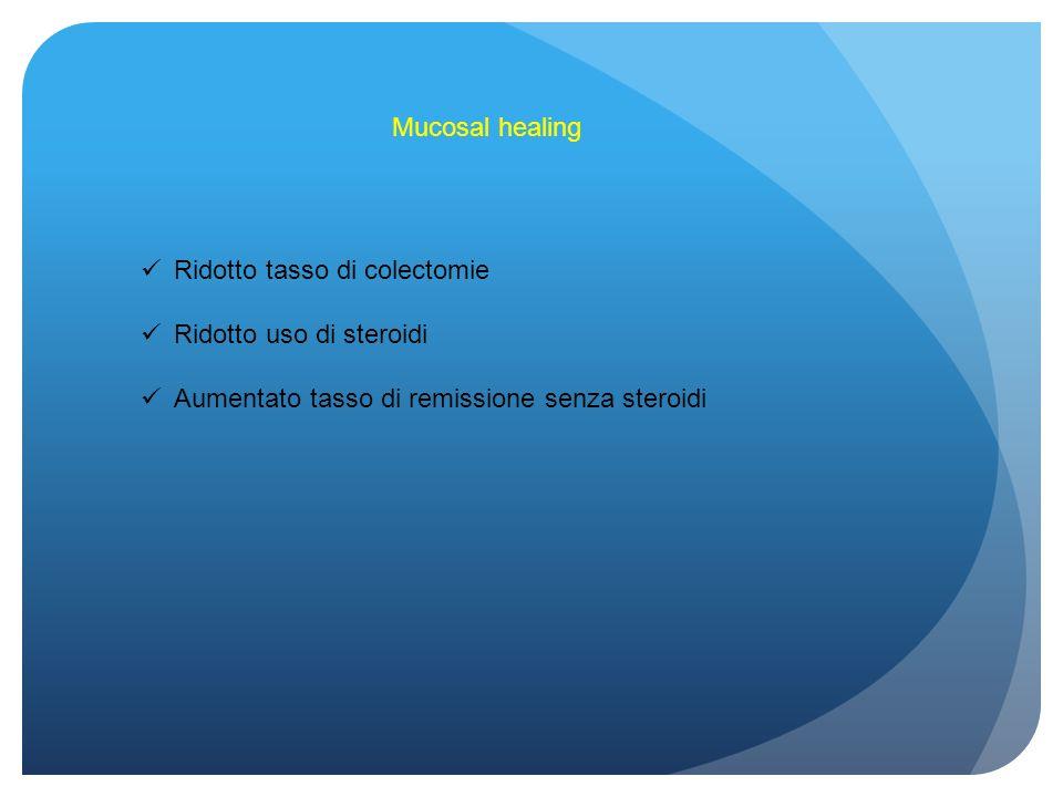 Mucosal healing Ridotto tasso di colectomie Ridotto uso di steroidi Aumentato tasso di remissione senza steroidi