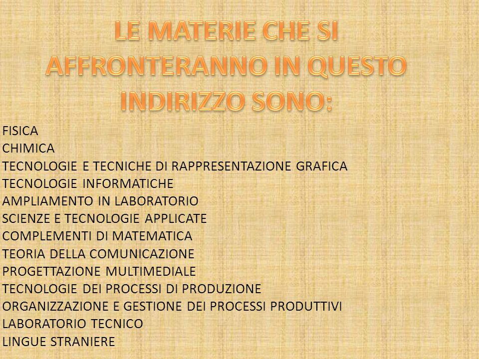 FISICA CHIMICA TECNOLOGIE E TECNICHE DI RAPPRESENTAZIONE GRAFICA TECNOLOGIE INFORMATICHE AMPLIAMENTO IN LABORATORIO SCIENZE E TECNOLOGIE APPLICATE COMPLEMENTI DI MATEMATICA TEORIA DELLA COMUNICAZIONE PROGETTAZIONE MULTIMEDIALE TECNOLOGIE DEI PROCESSI DI PRODUZIONE ORGANIZZAZIONE E GESTIONE DEI PROCESSI PRODUTTIVI LABORATORIO TECNICO LINGUE STRANIERE