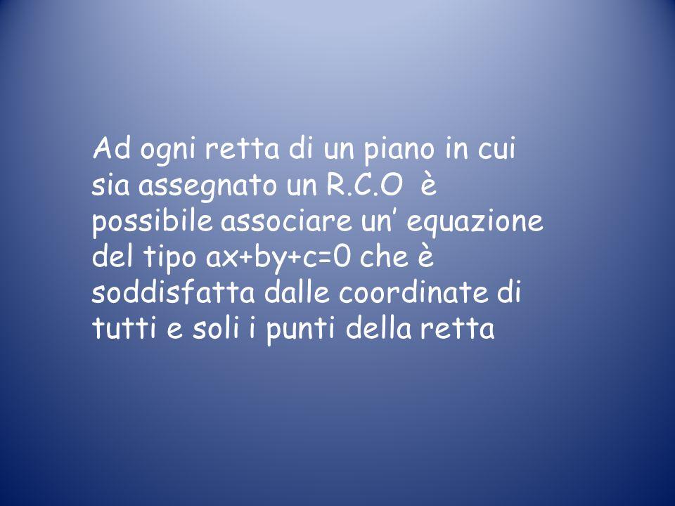 Ad ogni retta di un piano in cui sia assegnato un R.C.O è possibile associare un equazione del tipo ax+by+c=0 che è soddisfatta dalle coordinate di tutti e soli i punti della retta
