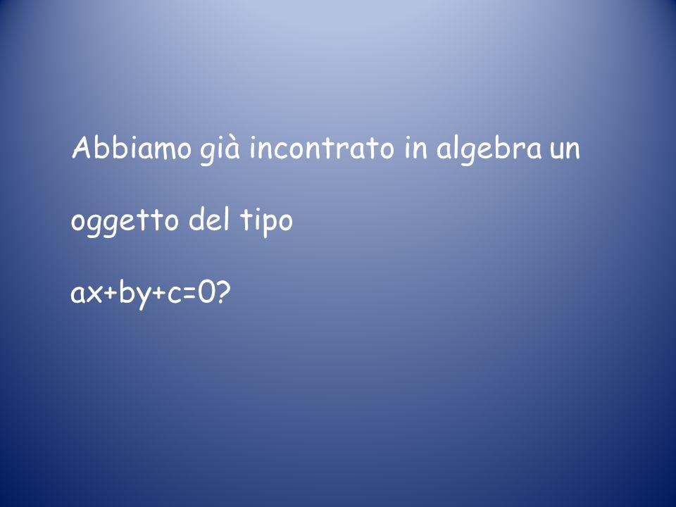 Abbiamo già incontrato in algebra un oggetto del tipo ax+by+c=0?