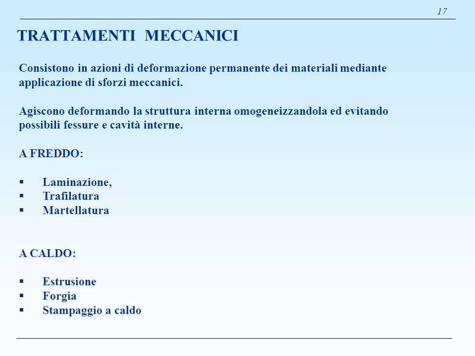 TRATTAMENTI MECCANICI 17 Consistono in azioni di deformazione permanente dei materiali mediante applicazione di sforzi meccanici. Agiscono deformando