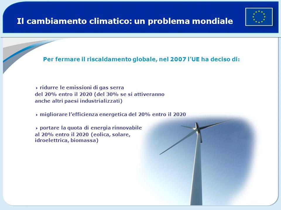 Il cambiamento climatico: un problema mondiale Per fermare il riscaldamento globale, nel 2007 lUE ha deciso di: ridurre le emissioni di gas serra del 20% entro il 2020 (del 30% se si attiveranno anche altri paesi industrializzati) migliorare lefficienza energetica del 20% entro il 2020 portare la quota di energia rinnovabile al 20% entro il 2020 (eolica, solare, idroelettrica, biomassa)