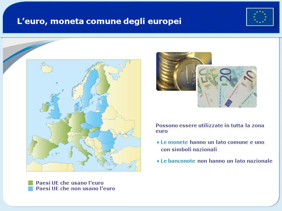 Leuro, moneta comune degli europei Paesi UE che usano leuro Paesi UE che non usano leuro Possono essere utilizzate in tutta la zona euro Le monete han