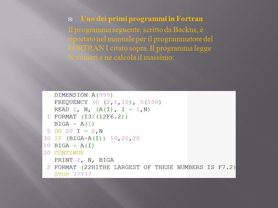 Uno dei primi programmi in Fortran Il programma seguente, scritto da Backus, è riportato nel manuale per il programmatore del FORTRAN I citato sopra.