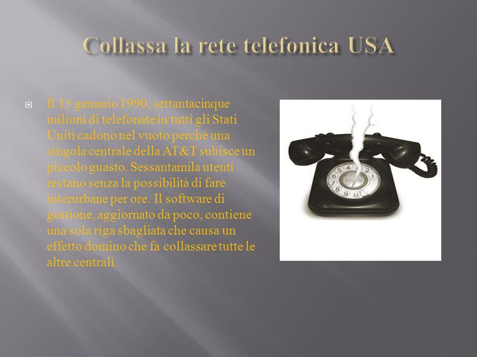 Il 15 gennaio 1990, settantacinque milioni di telefonate in tutti gli Stati Uniti cadono nel vuoto perché una singola centrale della AT&T subisce un p