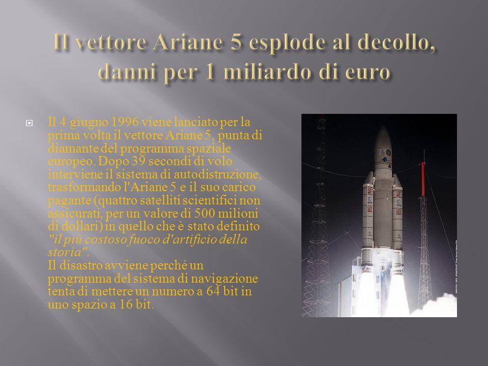 Il 4 giugno 1996 viene lanciato per la prima volta il vettore Ariane 5, punta di diamante del programma spaziale europeo. Dopo 39 secondi di volo inte