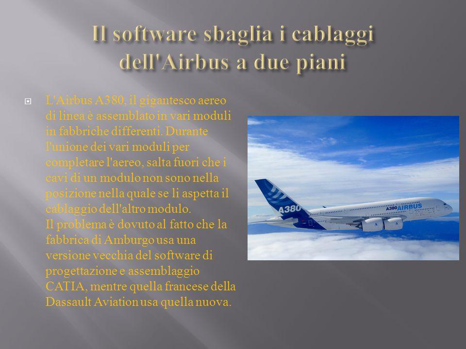 L'Airbus A380, il gigantesco aereo di linea è assemblato in vari moduli in fabbriche differenti. Durante l'unione dei vari moduli per completare l'aer